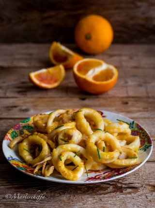 calamari alle arance fish and sea fruits food photography