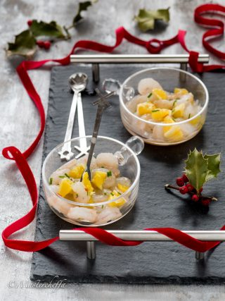 gamberetti marinati all'arancia merry christmas food photography