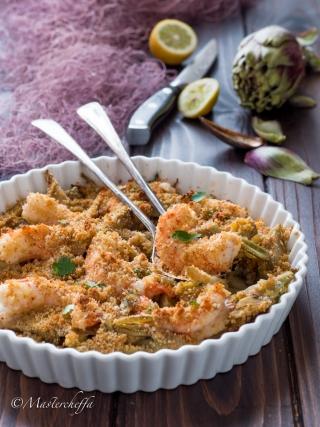 gamberoni e carciofi gratinati fish and sea fruits food photography
