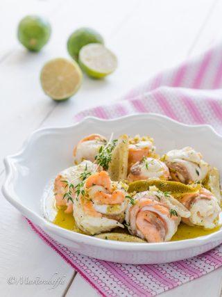 rotolini di sogliola e salmone al lime fish and sea fruits food photography