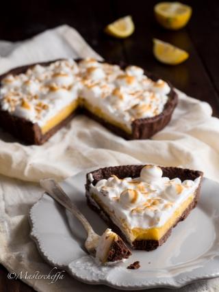 meringata al limone con frolla al cacao desserts food photography