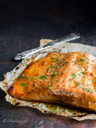 salmone al miele fish and sea fruits food photography